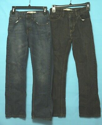 Levis Boys Jeans 2 Pair (1 Black) (1 Blue) 505 Slim   Size 14 Slim  25 X 27