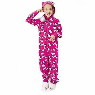 Hello Kitty bright pink Avon fleecy all in one pyjamas, all over print, hooded