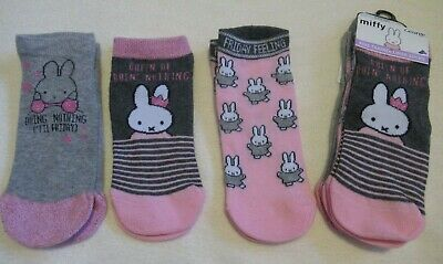 George Childrens Pink,Grey Assorted Miffy Cartoon Character Ankle Socks 3 Pack
