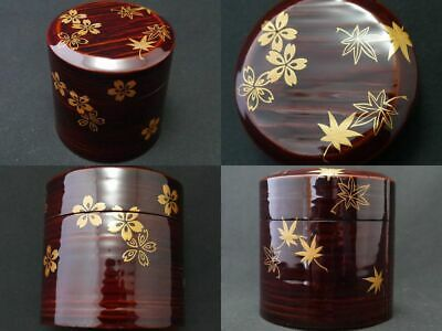 Japanese Traditional Lacquer Wooden Tea caddy Unkin makie Satsu-Natsume (1121)