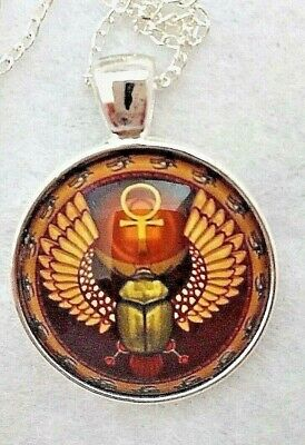 """ANKH SCARAB BEETLE 1"""" glass pendant necklace handmade silver plated 20 """"chain"""