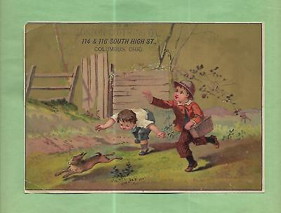 BOYS CHASE RABBIT On LONDON CLOTHING CO. Of  COLUMBUS, OH Victorian Trade Card