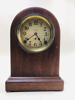 Antique Seth Thomas Oak Round Top Mantel Clock 89c FOR PARTS OR NEEDS WORK 13""