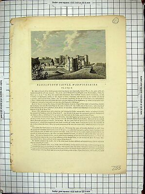 Old Antique Print Kenelworth Castle Warwickshire Architecture John Gaunt