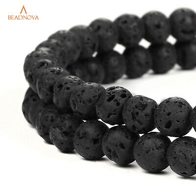 4-12mm Black Lava Beads Round Volcanic Rock Gemstone Essential Oil for jewelry