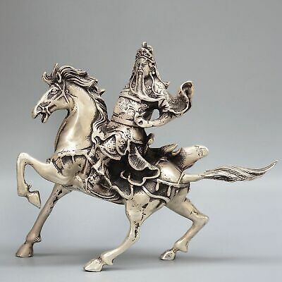 Collect Old Miao Silver Hand-Carved General Guan Yu Ride Horse Souvenir Statue