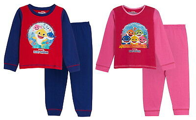 Girls Boys Baby Shark Pyjamas Kids Toddler Character Full Length Pjs Set Size