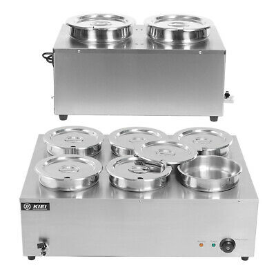 Commercial Electric Bain Marie 2/6 Round Pot Restaurant Buffet Soup Food Warmer
