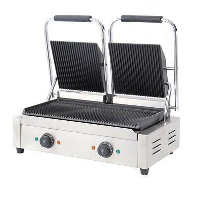 Commercial Electric Double Panini Grill Sandwich Toaster Maker Griddle 3600W