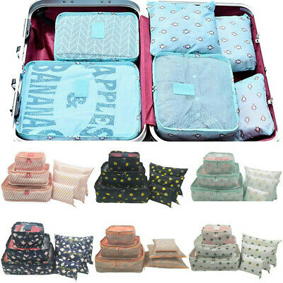 6pcs Travel Bags Waterproof Clothes Storage Luggage Organizer Pouch Packing US