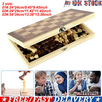 Folding Wooden Chess 3 in 1 Set Board Game Checkers Backgammon Draughts Toy Gift
