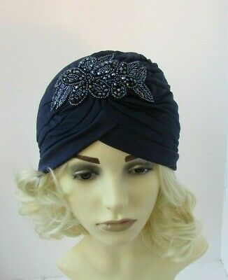 Navy Blue Beaded Turban Headpiece Fascinator Vintage Style Flapper Gatsby 7876