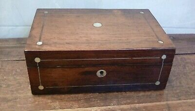 Antique Wooden Box, inlaid with mother of pearl design