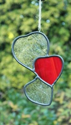 """Stained Glass /""""Heartbeat of America/""""  4/"""" x 4/"""" Platinum Heart Small Suncatcher"""