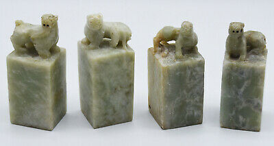 Vintage Chinese Hand Carved Green Soap Stone Seal Collection of 4