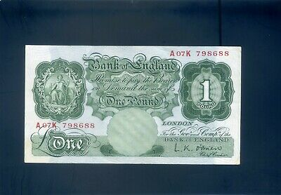 England English O`Brien One Pound £1 Banknote - First Sub Series 1955