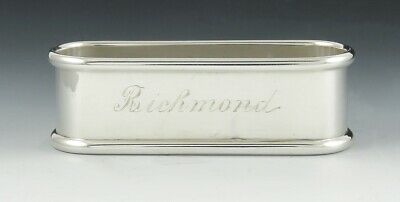 Vintage Gorham Sterling Silver Long Napkin Ring 'Richmond' Monogram