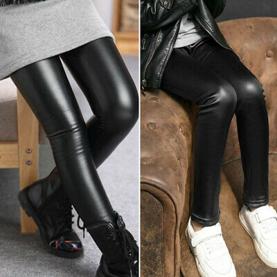 Kids Girls Winter Warm Faux Leather Leggings Thermal Thickening Pants Trousers