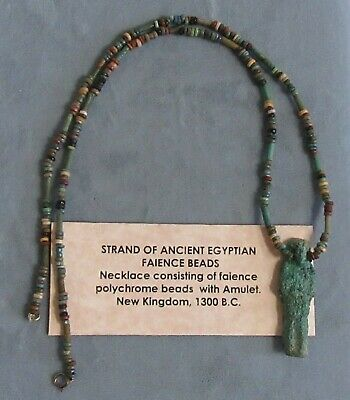 Strand Of Ancient Egyptian Faience Beads With Amulet 1300 B.C.