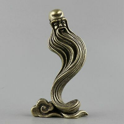Collection Antique Miao Silver Carve Long Beard Old Man Unique Auspicious Statue