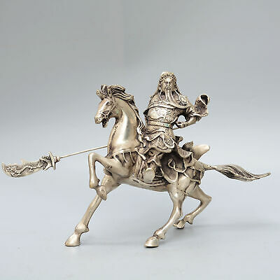 Collectable Antique Miao Silver Carve General Guan Yu Ride Horse Precious Statue