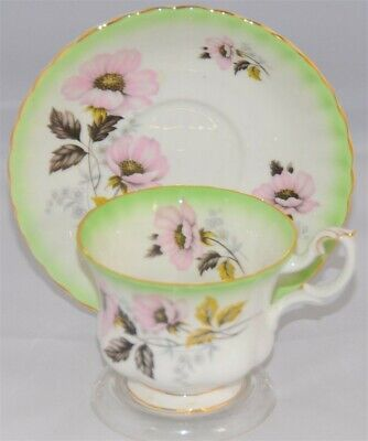 Royal Albert Bone China Tea Cup And Saucer, Green Pastels Floral Design