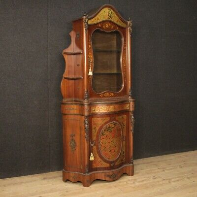 Cupboard Furniture Showcase Bookcase Double Body Wooden Antique Style Boulle 900