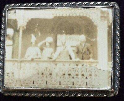Antique Sterling Silver Photographic Brooch Balcony Scene Glass Art Deco Hats