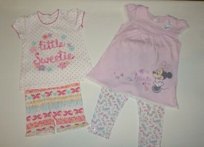 2 X Baby Girls Sets Tunic T-Shirt Tops, Shorts And Leggings Pink Lilac Cotton Mi