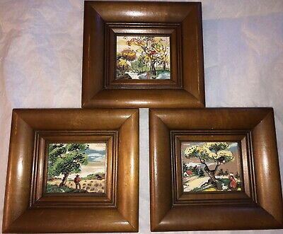 3 Miniature MCM Original Watercolor Paintings Country Scene Signed Margo Framed