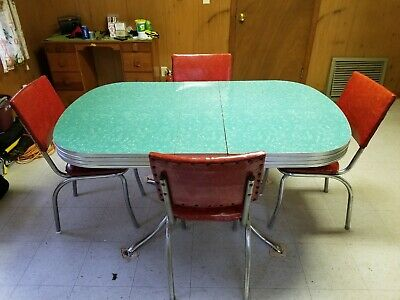 Vintage 1950's Green Formica Table with 4 Red Chairs