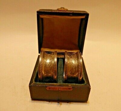 1914 Pair Boxed Napkin Rings English sterling silver from Chester