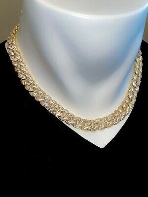 Men Diamond Miami Cuban Link Chain Choker Necklace 14k Gold Finish Ice Out ICY