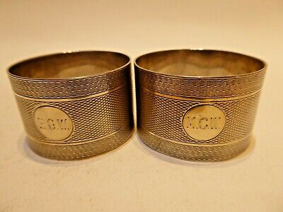 1930 Pair Napkin Rings English sterling silver from Chester
