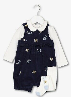 BNWT Baby Girls Navy Blue Embroidered Cord Bibshort Bodysuit Tights Outfit 18-24