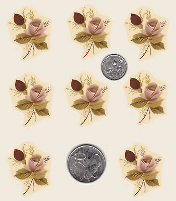 "8 Waterslide ceramic decals Roses Pink Rosebud spray Approx. 1 3/8"" x 1 3/8"" R21"