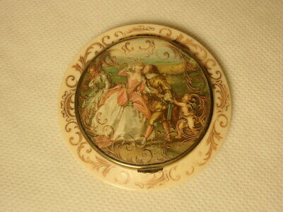 Vtg French Lovers Couple Celluloid Powder Compact Made in France