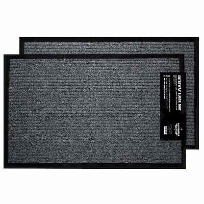 2-Pack Rugs for Entrance, Door Floormats with Shoe Scraper & Rubber Backing.