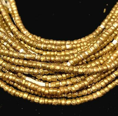 Strand of Ethiopian Yellow Brass Heishi Tiny Beads Ethiopia Africa 1.5mm