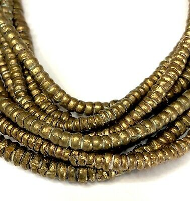 Small Strand of Ethiopian Brass Heishi Tiny Beads Ethiopia Africa 2mm