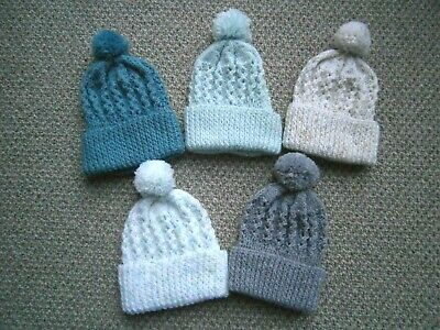 New Hand Knitted Baby Boy Bobble Hats - New Born