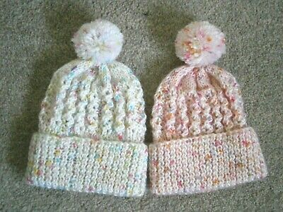 New Hand Knitted Baby Girl  Bobble Hats - New Born