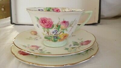 Royal Doulton MOSS ROSE V2247 Tea cup, saucer and bread & butter plate BRILLIANT