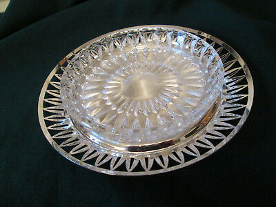 Silver Plate Dish with Crystal Glass Liner 6-1/2 inch