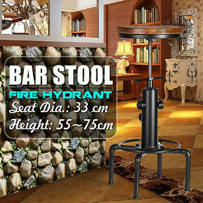 Industrial Urban Bar Stool Wooden Top Shabby Vintage Chic Kitchen Tractor  .@