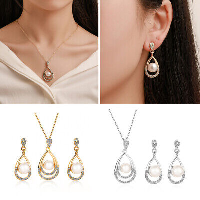 Silver Crystal Pearl Necklace Earrings Wedding Bridal Bridesmaid Jewelry Set New