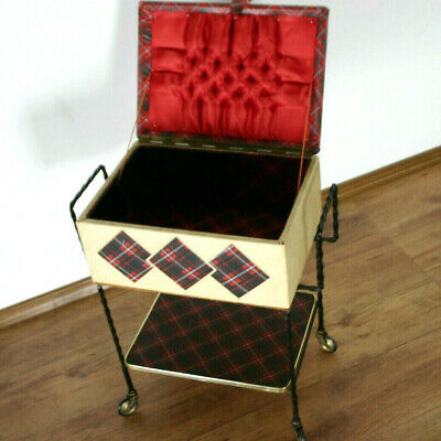 60er Years Sewing Box Scottish Check Pattern Vintage Table (7469)