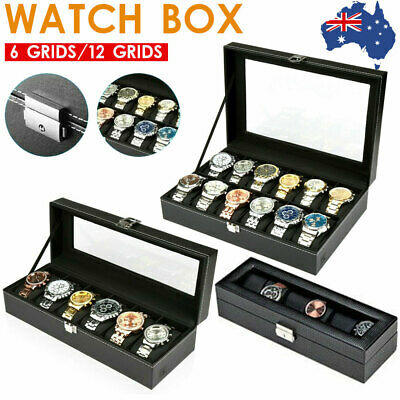 6 Grids Leather Watch Display Case Jewelry Collection Storage Holder Box Gift AU