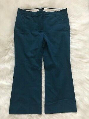 J. Crew Women's 12 Teddie Cropped Dress Pants in Blue Green E8366