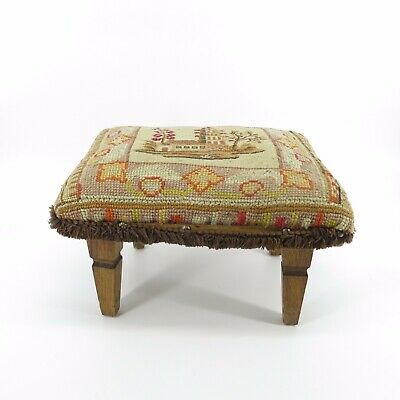 Vtg Hand Made Primitive Country Hooked Rug Shabby Footstool Stool